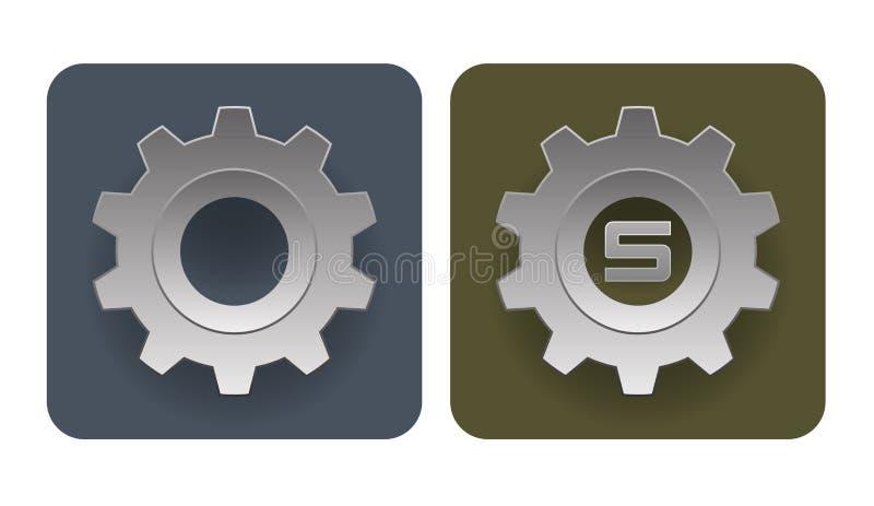 Ejemplo del vector de los iconos simples del engranaje ilustración del vector
