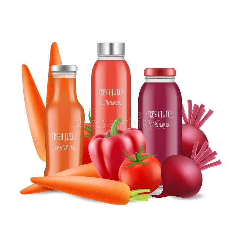 Ejemplo del vector de los jugos de verduras Botellas realistas y verduras del jugo aisladas en el fondo blanco ilustración del vector