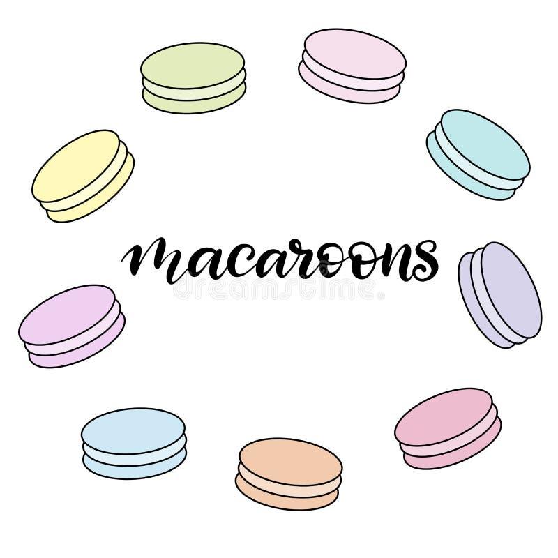 Ejemplo del vector de los macarrones con las letras ilustración del vector