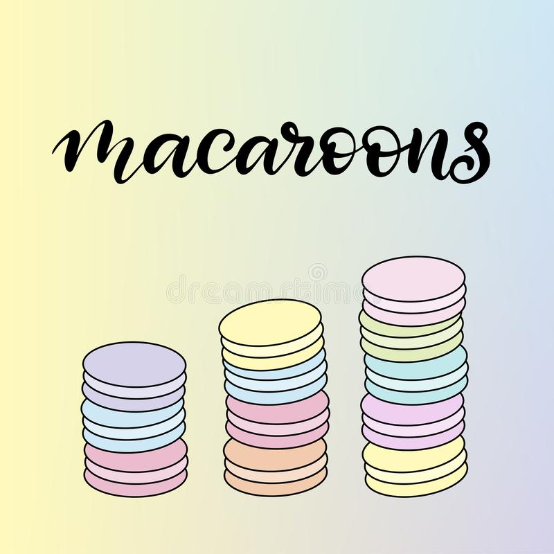 Ejemplo del vector de los macarrones con las letras libre illustration