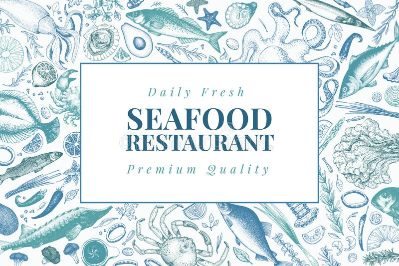 Ejemplo del vector de los mariscos Puede ser el uso para los restaurantes menú, cubierta, empaquetando Plantilla dibujada mano de stock de ilustración