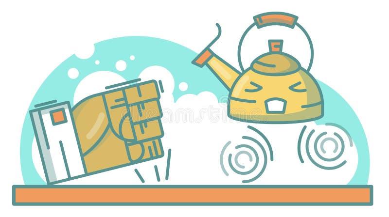 Ejemplo del vector de los niños con la caldera enojada ilustración del vector