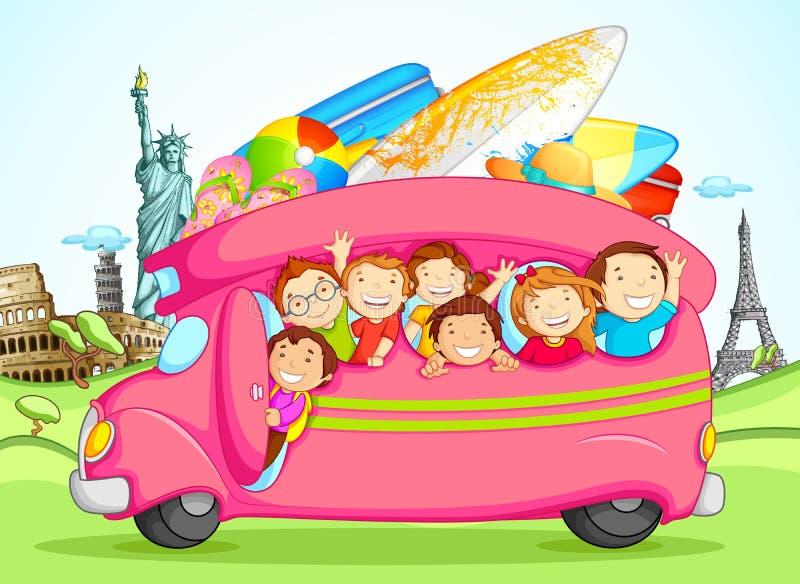 Niños que disfrutan de viaje de escuela stock de ilustración