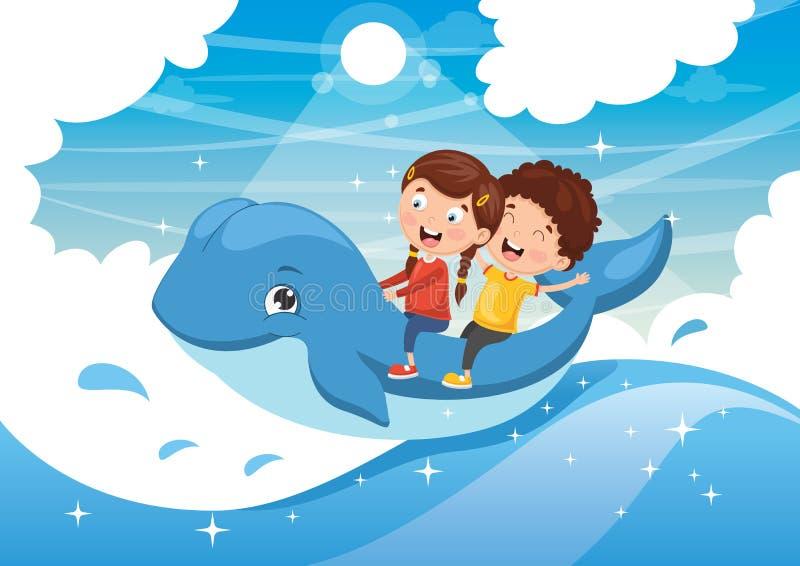 Ejemplo del vector de los niños que montan la ballena ilustración del vector