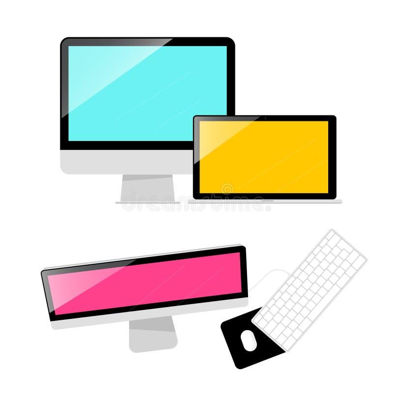 Ejemplo del vector de los ordenadores Ordenador, ordenador portátil y teclado ilustración del vector