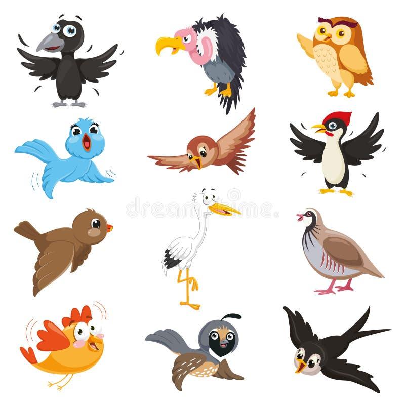 Ejemplo del vector de los pájaros de la historieta ilustración del vector