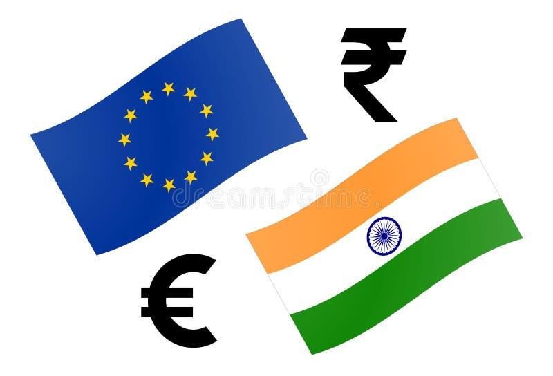 Ejemplo del vector de los pares de la moneda de las divisas de EURINR Bandera de la UE y de la India, con símbolo del euro y de l libre illustration