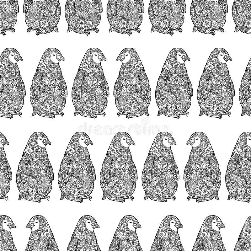 Ejemplo del vector de los pingüinos de Zentangle Modelo inconsútil de la Antártida Libro de colorear del enredo del zen ilustración del vector