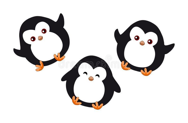 Ejemplo del vector de los pingüinos de la historieta de los pingüinos ilustración del vector