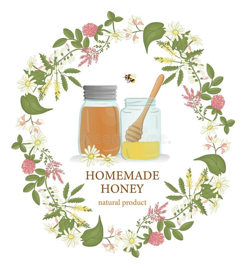 Ejemplo del vector de los tarros de la miel enmarcados en flores salvajes libre illustration