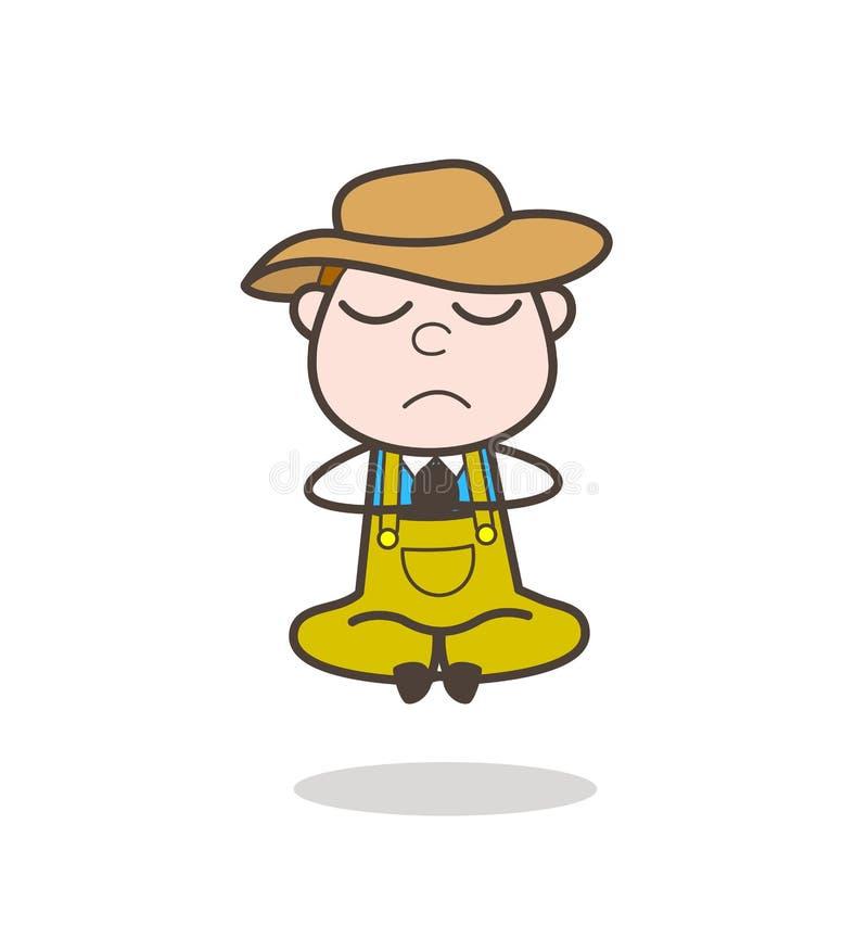 Ejemplo del vector de Man Doing Meditation del granjero de la historieta libre illustration