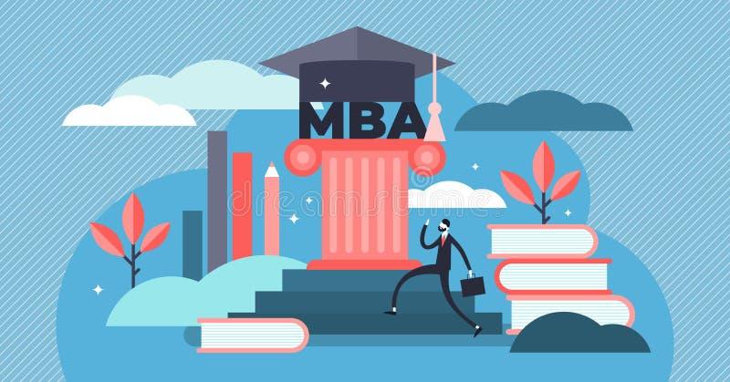 Ejemplo del vector de MBA Concepto principal minúsculo de la persona de la administración de empresas ilustración del vector