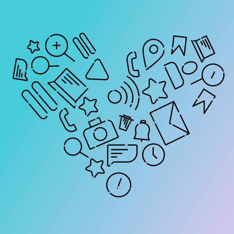 Ejemplo del vector de Minimalistic de iconos en el tema de Internet, usos, negocio bajo la forma de corazón Gradiente azul libre illustration