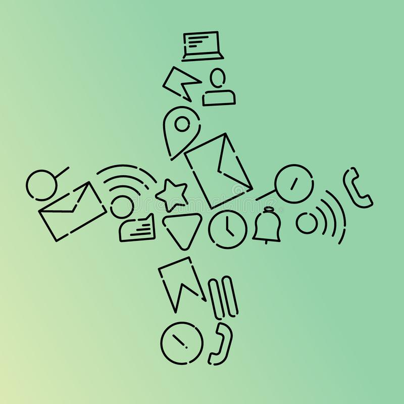 Ejemplo del vector de Minimalistic de iconos en el tema de Internet, usos, negocio bajo la forma de más de a Pendiente de la ment libre illustration