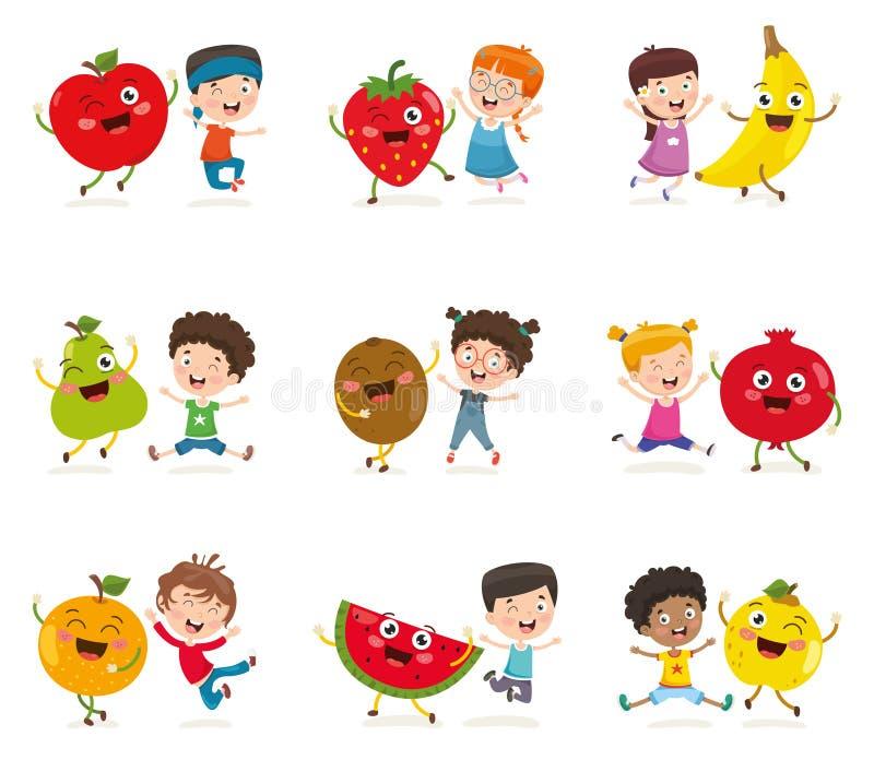 Ejemplo del vector de niños y de caracteres de la fruta libre illustration