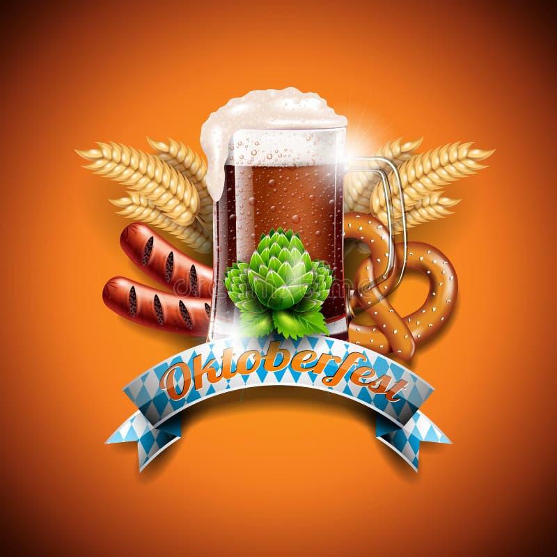 Ejemplo del vector de Oktoberfest con la cerveza oscura fresca en fondo anaranjado Bandera de la celebración para el festival ale libre illustration