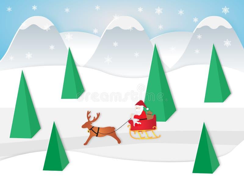 Ejemplo del vector de Papá Noel que se sienta en un trineo con el reno ilustración del vector