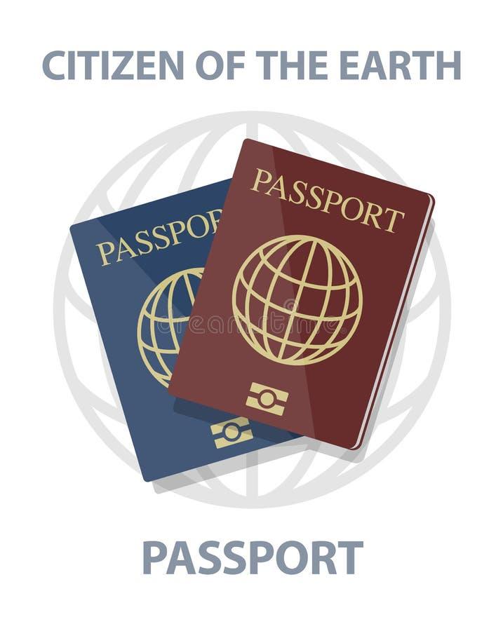 Ejemplo del vector de pasaportes biométricos con el globo libre illustration