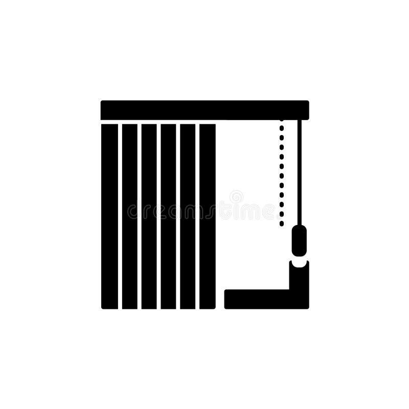 Ejemplo del vector de persianas verticales Icono plano del sábalo de la ventana stock de ilustración