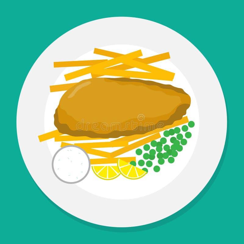 Ejemplo del vector de pescado frito con patatas fritas en la placa imagenes de archivo