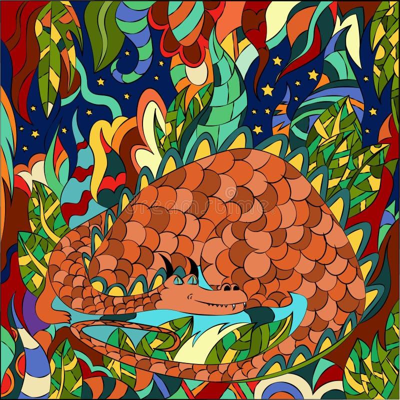 Ejemplo del vector de plantas fatastic y de un dragón grande Gráficos abstractos para los papeles pintados, los fondos de la mate libre illustration