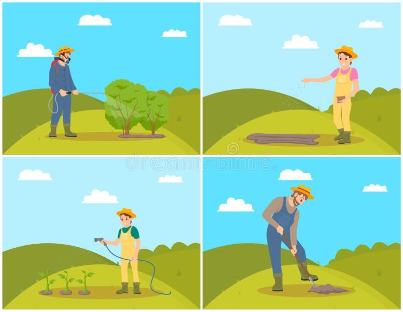 Ejemplo del vector de Planting Seeds Set del granjero ilustración del vector