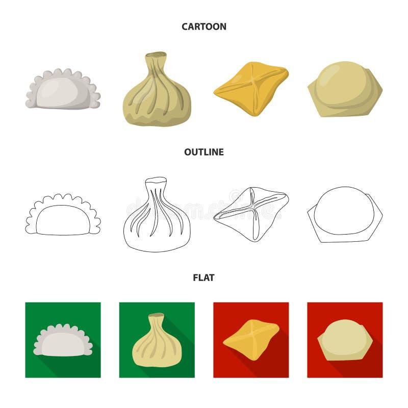 Ejemplo del vector de productos y del icono el cocinar Colección de productos y de ejemplo del vector de la acción del aperitivo libre illustration