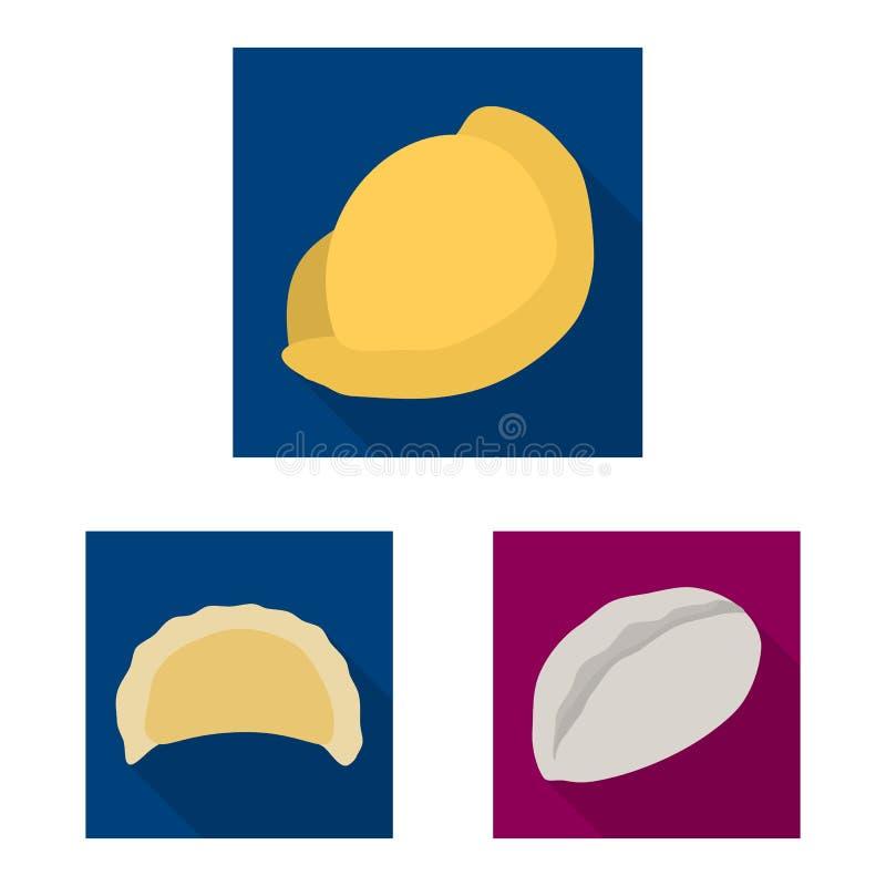 Ejemplo del vector de productos y del icono el cocinar Fije de productos y del ejemplo del vector de la acci?n del aperitivo stock de ilustración