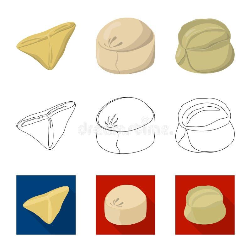 Ejemplo del vector de productos y del icono el cocinar Fije de productos y del s?mbolo com?n del aperitivo para la web ilustración del vector