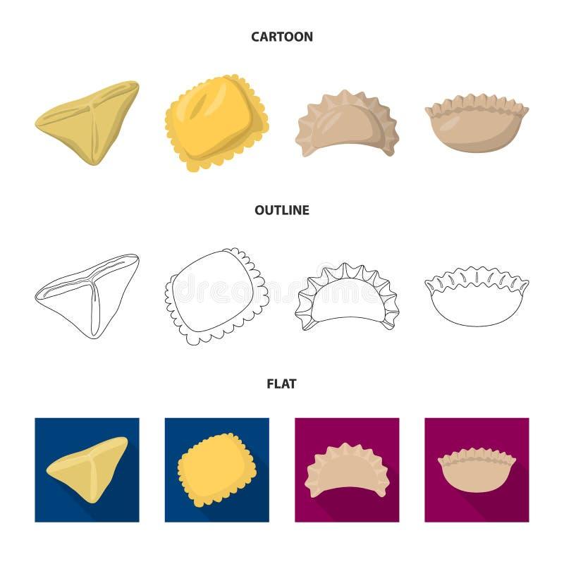 Ejemplo del vector de productos y de la muestra el cocinar Fije de productos y del ejemplo del vector de la acción del aperitivo stock de ilustración