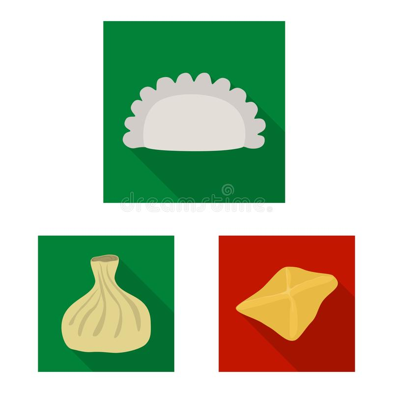 Ejemplo del vector de productos y del logotipo el cocinar Colecci?n de productos y de s?mbolo com?n del aperitivo para la web ilustración del vector