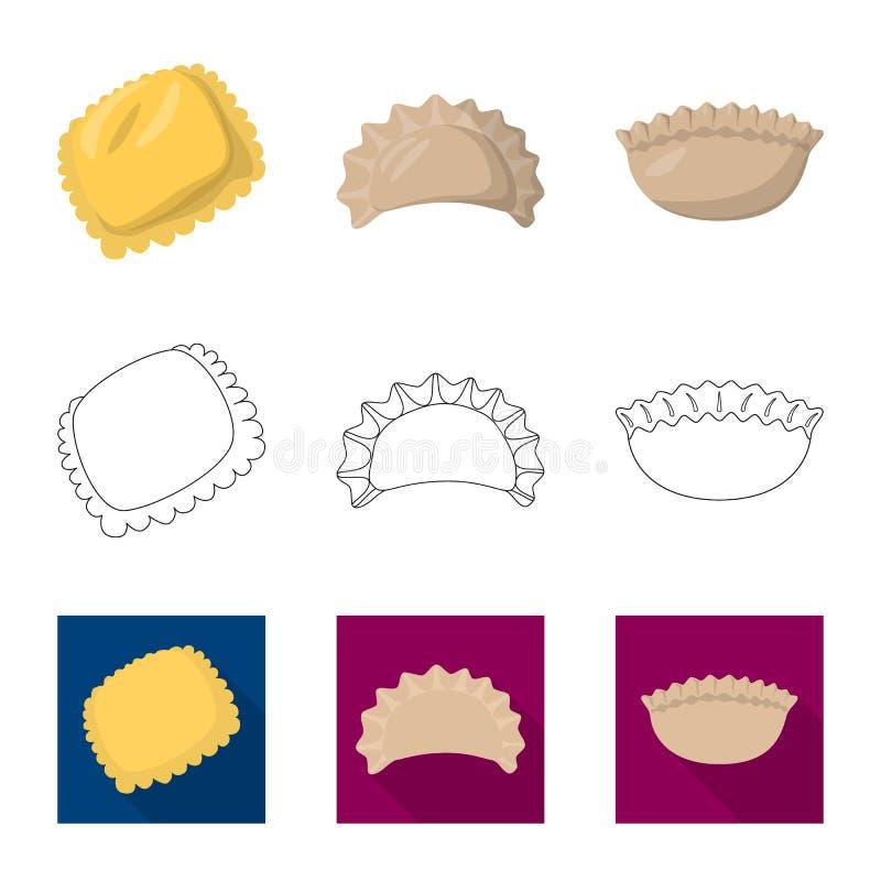 Ejemplo del vector de productos y del s?mbolo el cocinar Fije de productos y del ejemplo del vector de la acci?n del aperitivo stock de ilustración