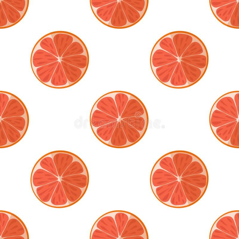 Ejemplo del vector de rebanadas de pomelos en un fondo ligero Modelo inconsútil de la fruta brillante con una imagen jugosa del p ilustración del vector