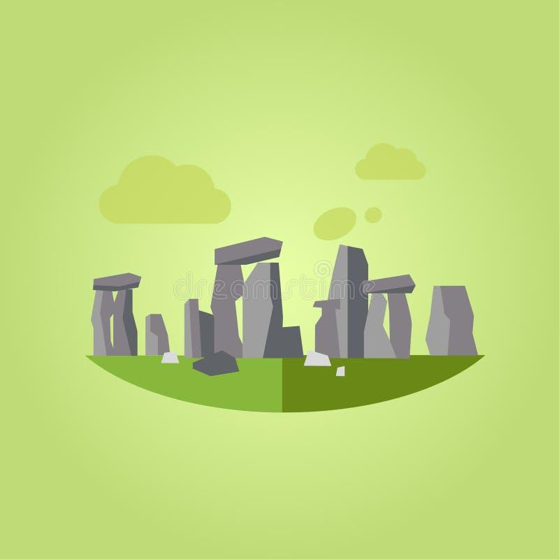Ejemplo del vector de Stonehenge en estilo plano stock de ilustración
