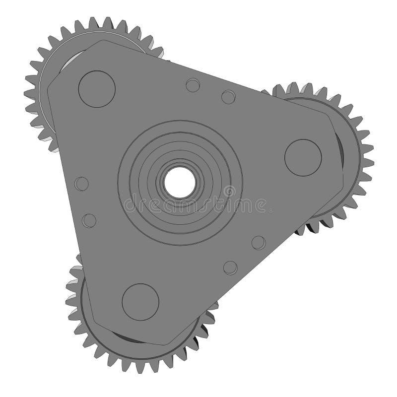 Ejemplo del vector de tres engranajes del metal stock de ilustración