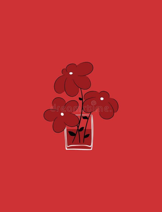 Ejemplo del vector de tres flores lindas en el vaso de agua ilustración del vector