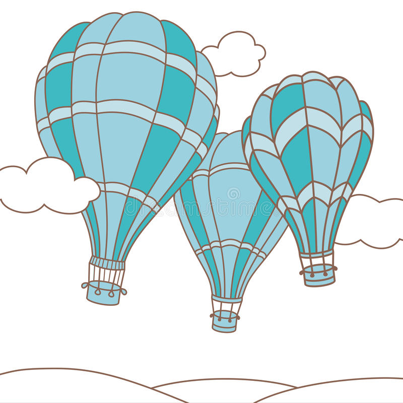 Ejemplo del vector de tres globos del aire caliente libre illustration