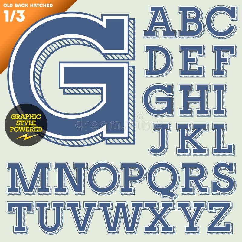 Ejemplo del vector de un alfabeto pasado de moda ilustración del vector