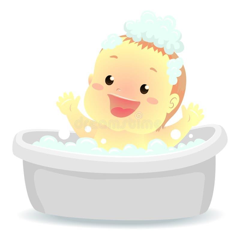 Ejemplo del vector de un bebé que toma un baño en la tina de baño ilustración del vector