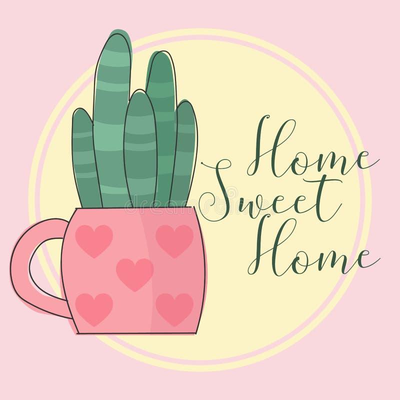 Ejemplo del vector de un cactus en una maceta con los corazones con un hogar dulce del hogar de la inscripción en un fondo rosado stock de ilustración