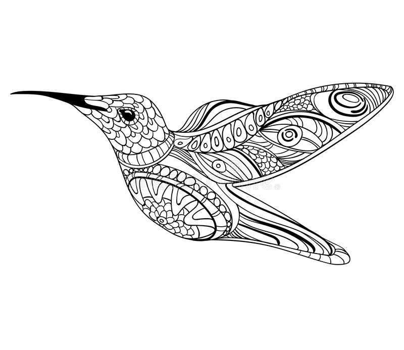 Ejemplo del vector de un colibrí Pájaro de vuelo estilizado Dibujo con los ornamentos arte linear Dibujo blanco y negro stock de ilustración
