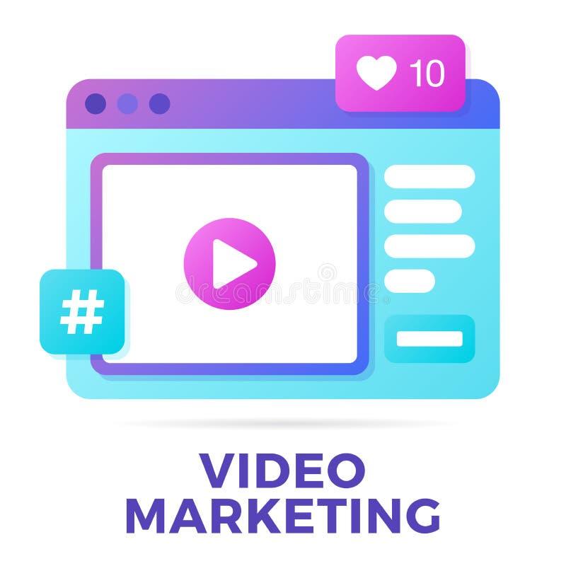 Ejemplo del vector de un concepto social de la comunicaci?n de los medios Palabra de comercialización video con los iconos de la  libre illustration