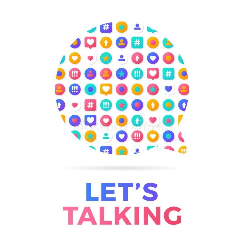 Ejemplo del vector de un concepto social de la comunicaci?n de los medios Palabra que habla Lets con los iconos de la actividad s ilustración del vector