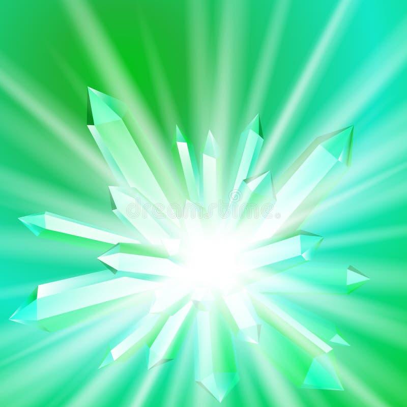 Ejemplo del vector de un cristal con los rayos ilustración del vector