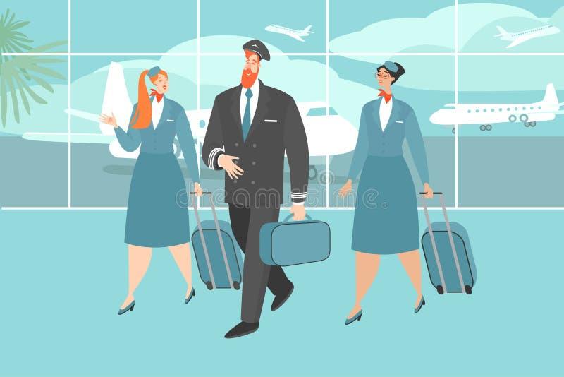 Ejemplo del vector de un equipo del aeroplano en el aeropuerto libre illustration