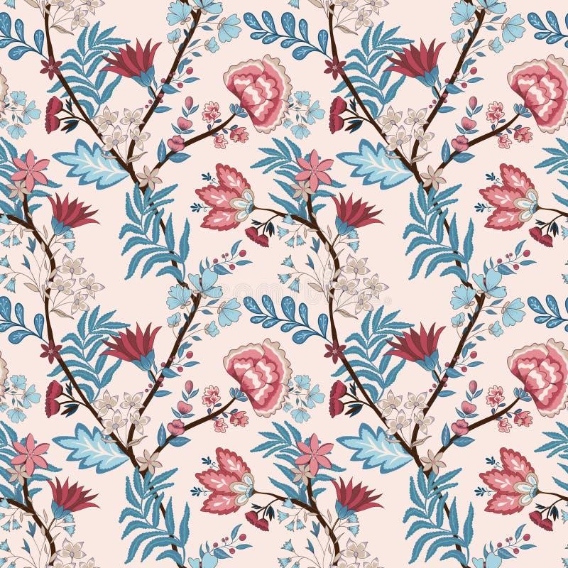 Ejemplo del vector de un estampado de flores incons?til Estilo indio y oriental libre illustration