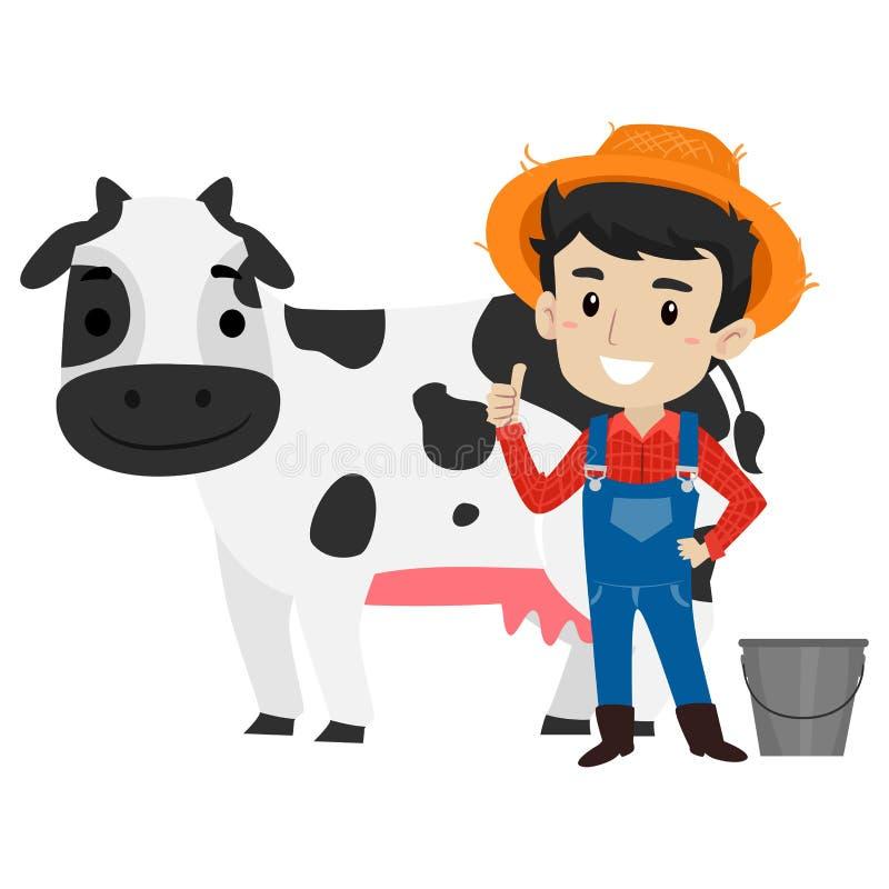 Ejemplo del vector de un granjero Milking una vaca ilustración del vector