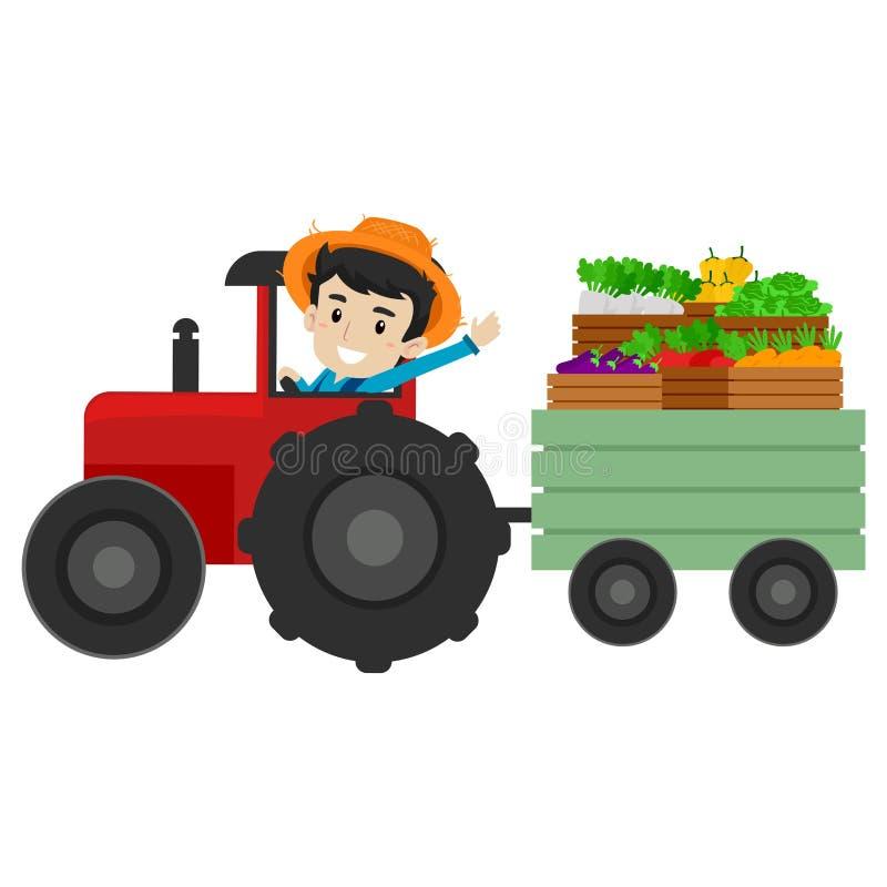 Ejemplo del vector de un granjero que conduce un tractor por completo de frutas y verduras libre illustration