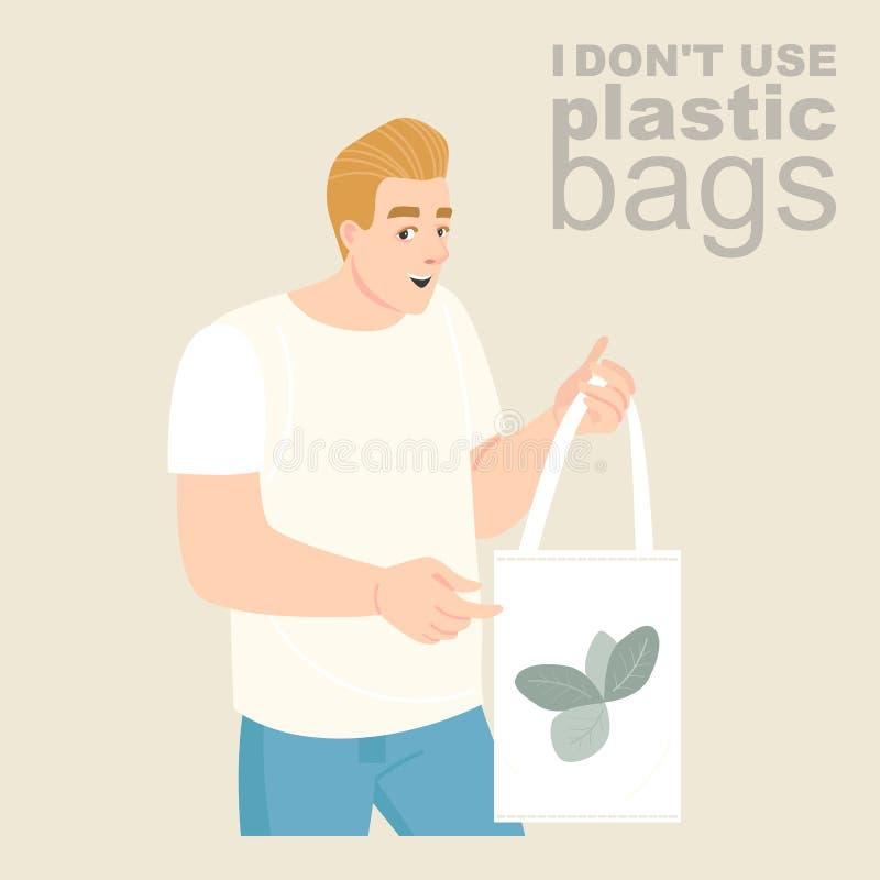 Ejemplo del vector de un hombre joven con un bolso respetuoso del medio ambiente de la materia textil en sus manos fotos de archivo libres de regalías
