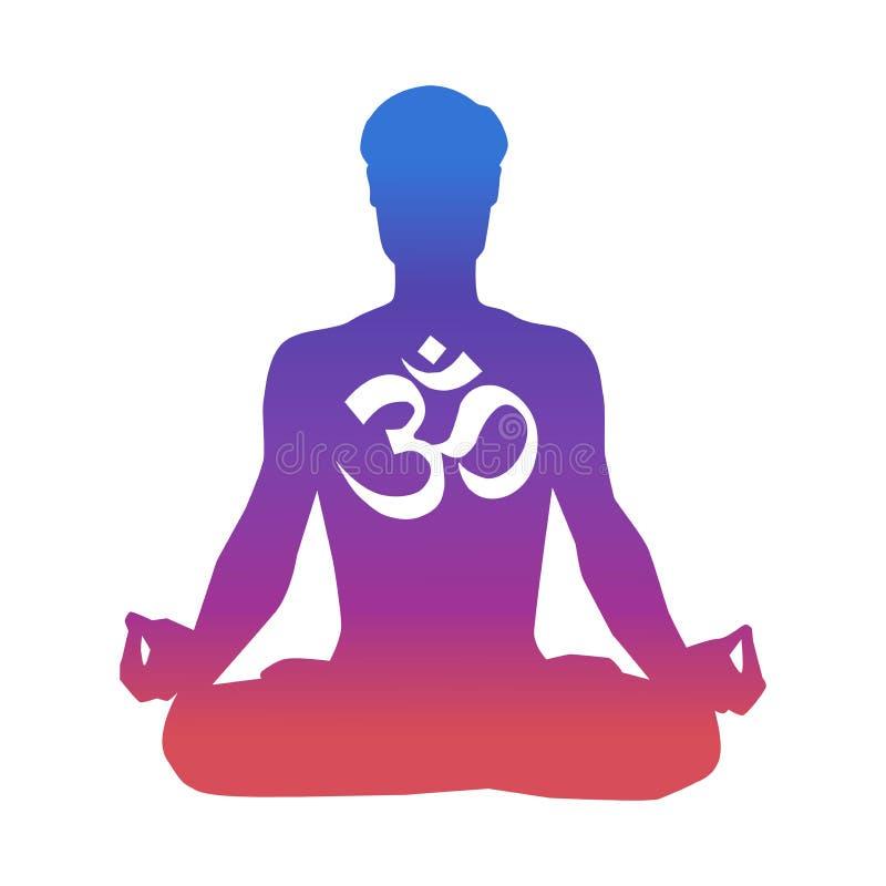 Ejemplo del vector de un hombre que medita en la actitud del loto Silueta masculina en colores azules, rosados, violetas de la pe stock de ilustración